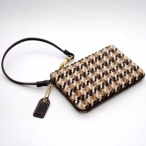 Coach Wool Houndstooth Tweed Zip Wristlet #40149